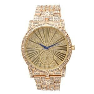 Bling-ed Out Mens Gold Tone Watch - L0503 Gold
